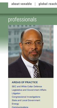Glenn Ivey is currently a partner at Venable, a corporate lobbying/law firm. Above, a screenshot from the website.