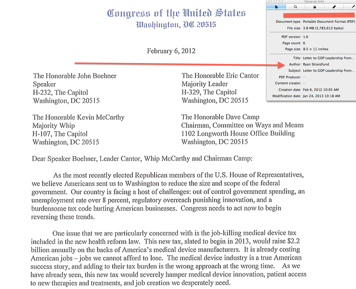 Tea Party Lawmaker Letter On Med Device Tax Repeal Authored By Lobby